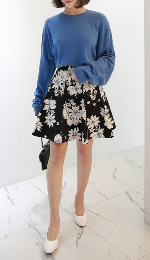 Flower Print Flared Skirt
