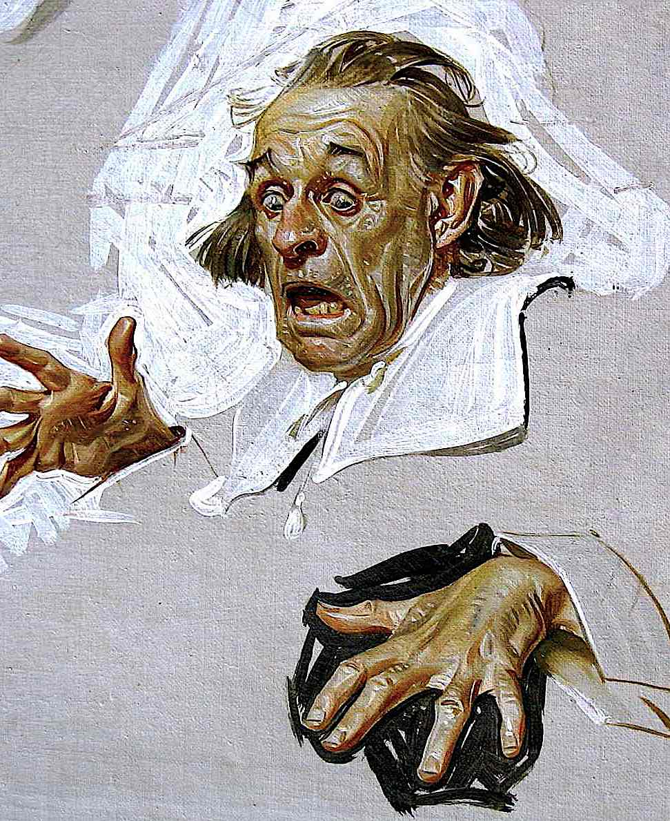 a preparation sketch for an illustration by Joseph Christian Leyendecker, a shocked frightened man
