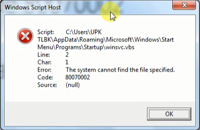 Mengatasi pesan error Windows winscv.vbs code 80070002