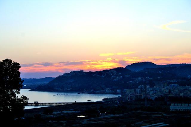 mare, tramonto, cielo, acqua, vista, monti, città