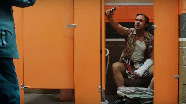 There's comedy, and then there's Ryan Gosling talking tough from a bathroom stall
