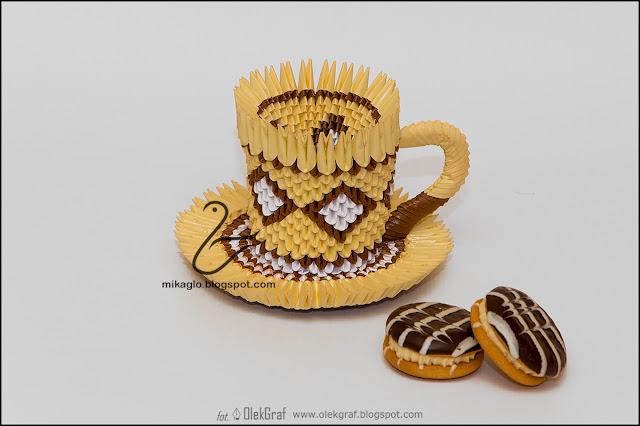 390. Filiżanka z ciastkiem / 3d origami cup and cake