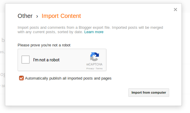 Import content publish all imported posts and pages