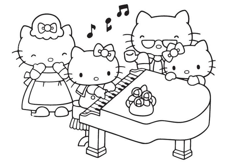 Tranh tô màu mèo hello kitty chơi đàn piano