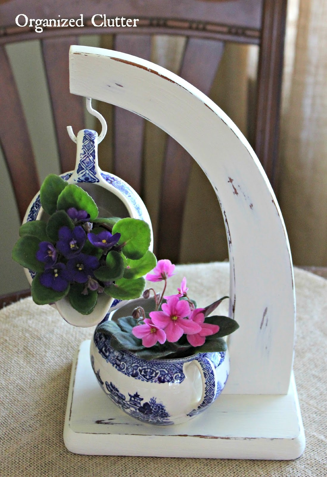 Repurposed Banana Stand African Violet Display www.organizedclutter.net