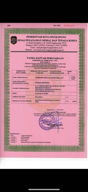 tanda daftar PT. Topindo Solusi Komunika