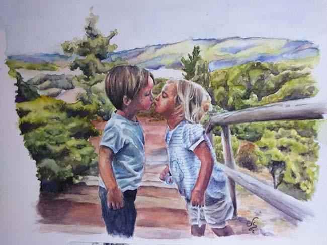 Retrato en acuarela de dos niños besandose