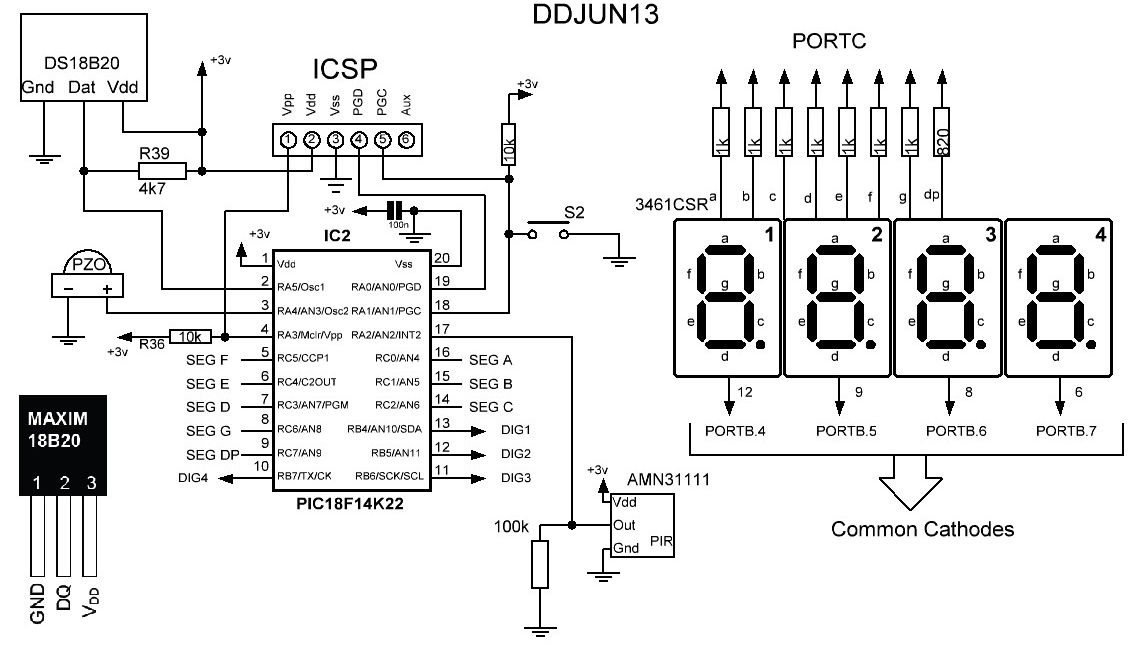 electronics projects  u0026 tips  temperature display with 7 segment and pir sensor and pic18f14k22