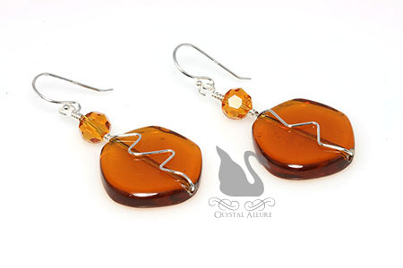 November Birthstone Earrings | Topaz Crystal Beaded Earrings (EBC110)