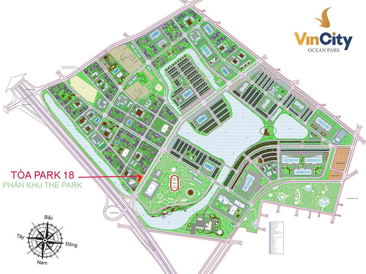 Vị trí Tòa Park 18 VinCity Ocean Park Gia Lâm