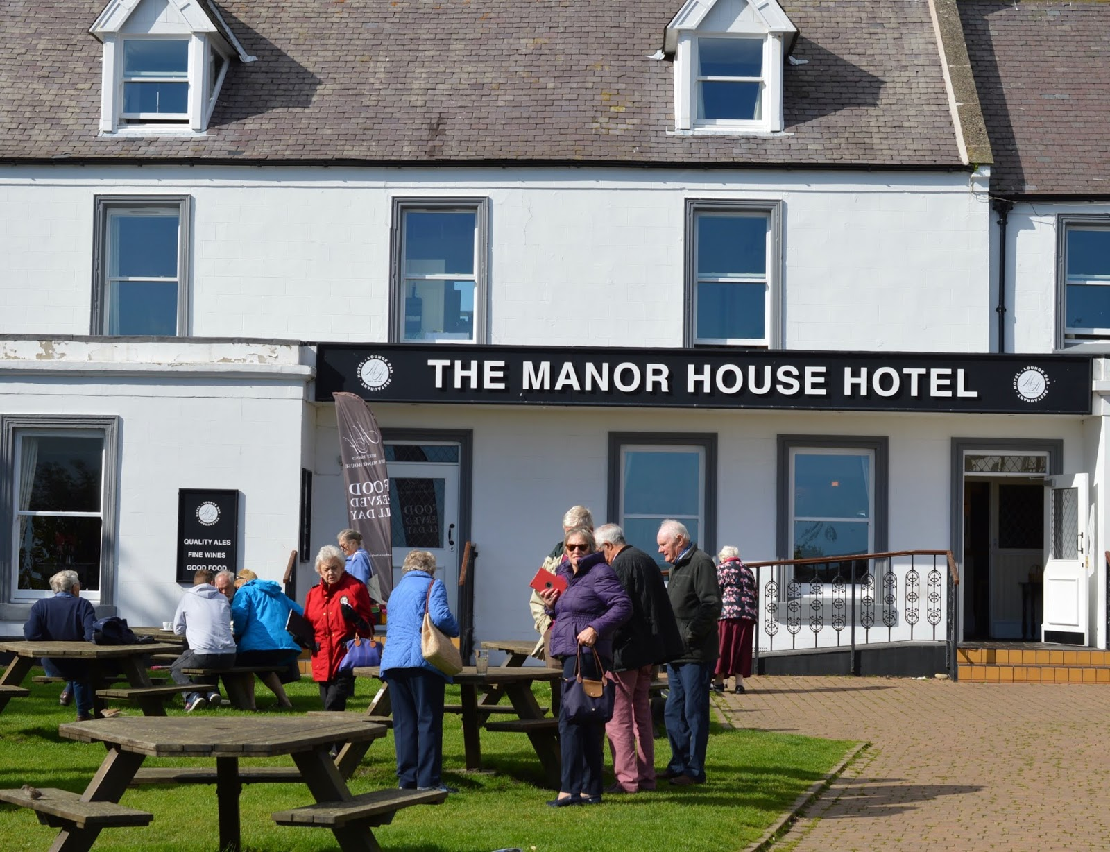 The Holy Island of Lindisfarne, Northumberland - what to see and do during a half day visit - the manor house hotel and beer garden