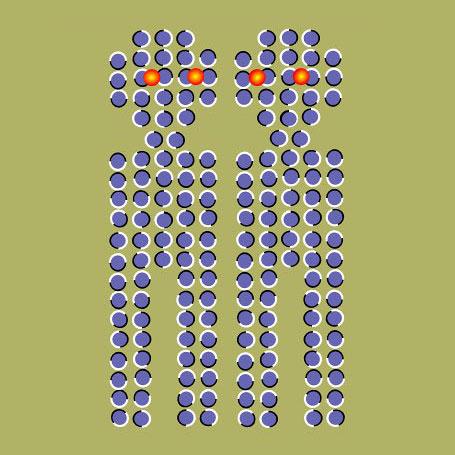 Mavi noktalardan çizilmiş kırmızı gözlü robotlar baktıkça hareket ediyor
