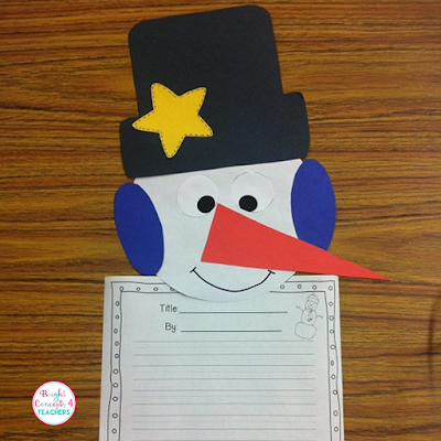 snowman glyph writing ideas and bulletin board for January