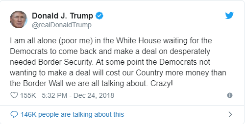 Trump Couldn't Even Say 'Merry Christmas' Without Whining About His Border Wall