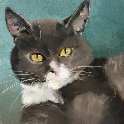 Grey cat oil painting by Philine van der Vegte