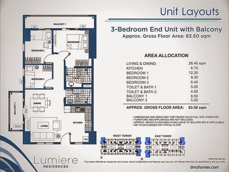 Lumiere Residences 3 Bedroom 83.50 sqm