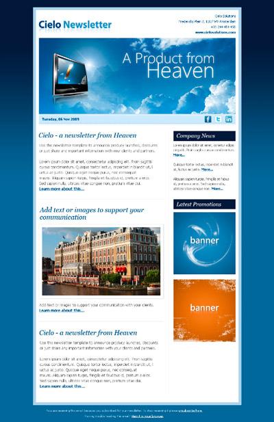 Cielo Newsletter: plantilla HTML para boletín vía Email