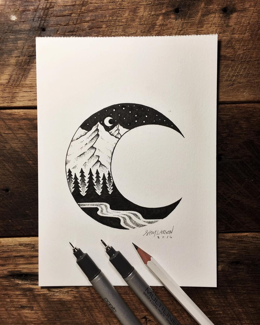 14-Moon-Mountains-Sam-Larson-Injection-of-Inspiration-in-Diverse-Drawings-www-designstack-co