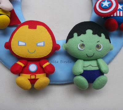 Homem de ferro e Hulk baby em feltro