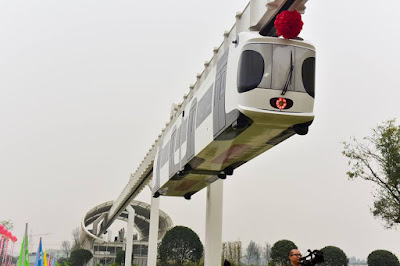 "China's first new energy ""sky train"" runs trial operation in Chengdu"