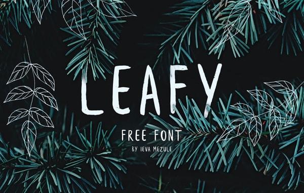 Brush font terbaik 2017 - Leafy – Free Brush Font
