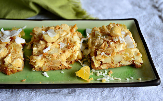 pineapple, 7 Layer Bars, Hello Dolly bars, coconut, macadamias