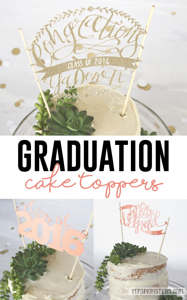 Adorable DIY Graduation Cake Toppers with FREE Silhouette cut files at my3monsters.com