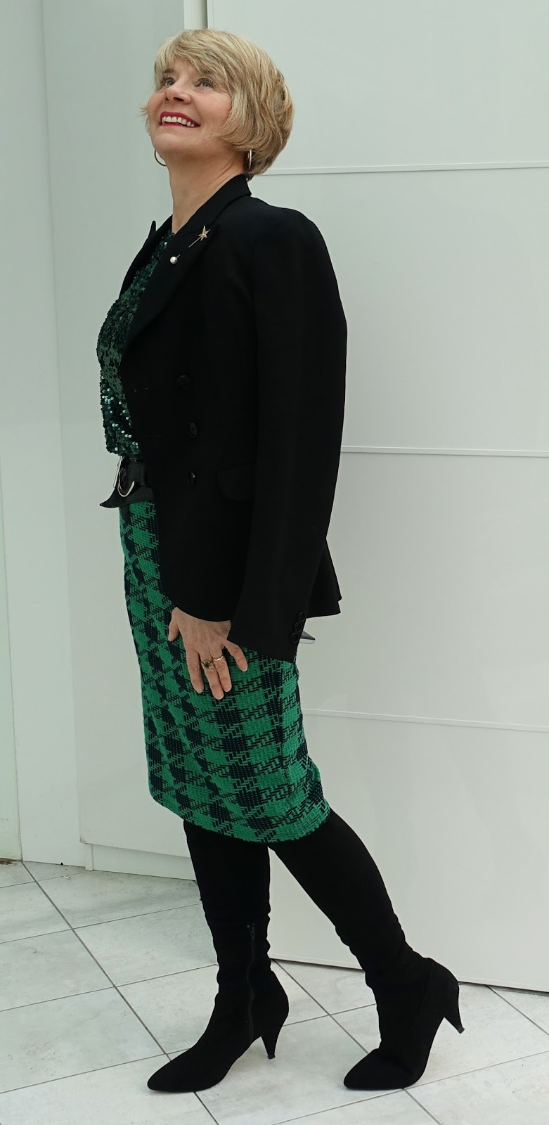 Image showing over 45s fashion blogger Gail Hanlon wearing sequins as daytime attire