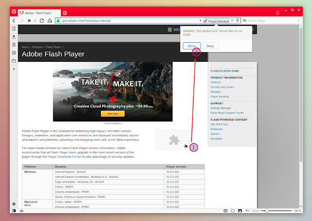 Adobe Flash Player Vivaldi