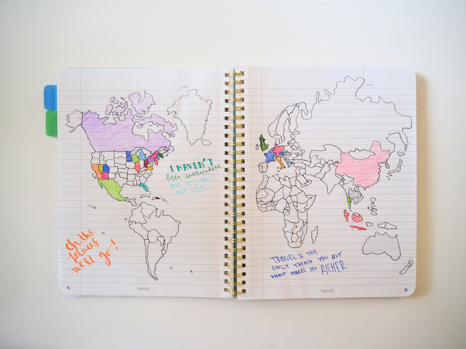 Bullet journal map of places I've visited and places I want to explore