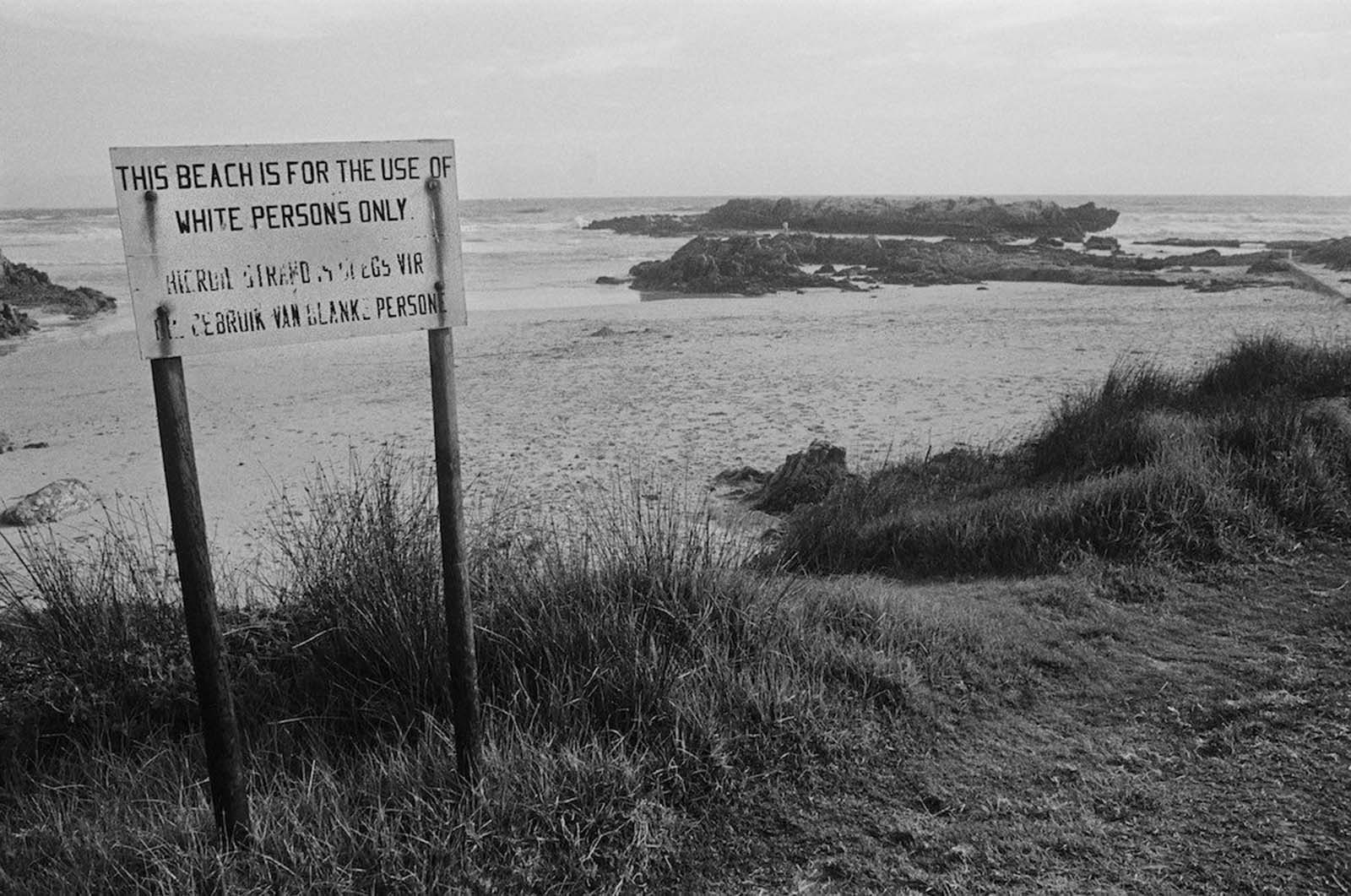 An apartheid notice on a beach near Cape Town. 1974.