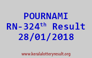 POURNAMI Lottery RN 324 Results 28-01-2018
