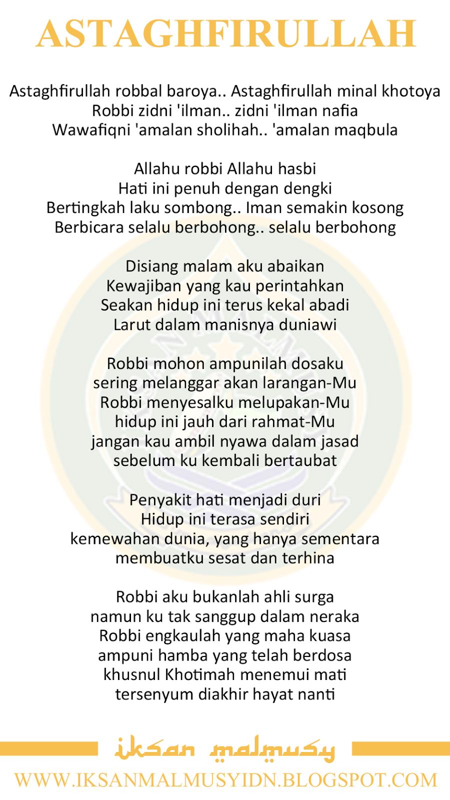 Lirik Sholawat Astagfirullah : lirik, sholawat, astagfirullah, Lirik, Sholawat, Astaghfirullah, (Versi, Kelangan), IKSAN, MALMUSY