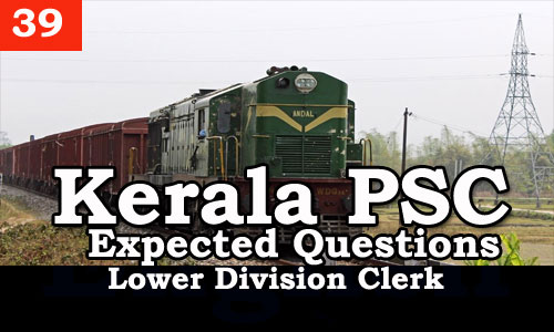 Kerala PSC - Expected/Model Questions for LD Clerk - 38