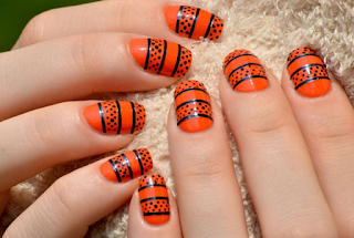 Orange and black latest nail art collections 2016 - quillingpaperdesigns