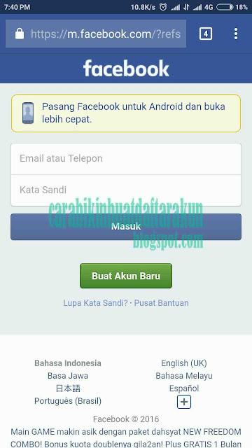 Cara Daftar Facebook | Buat Akun FB Bahasa Indonesia