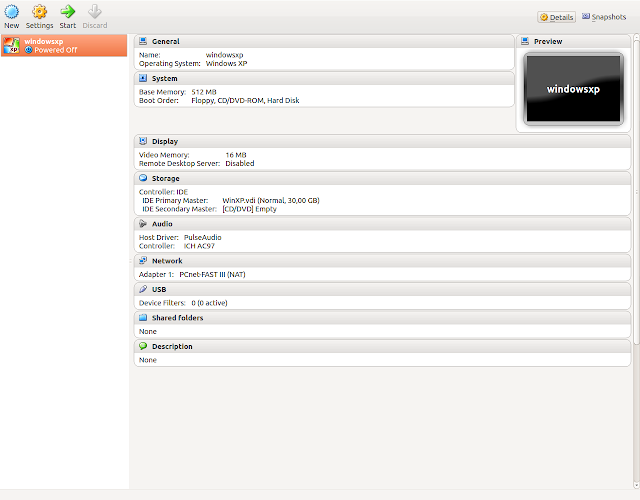 Ya creada la maquina virtual con el vdi, verificamos configuracion en virtualbox