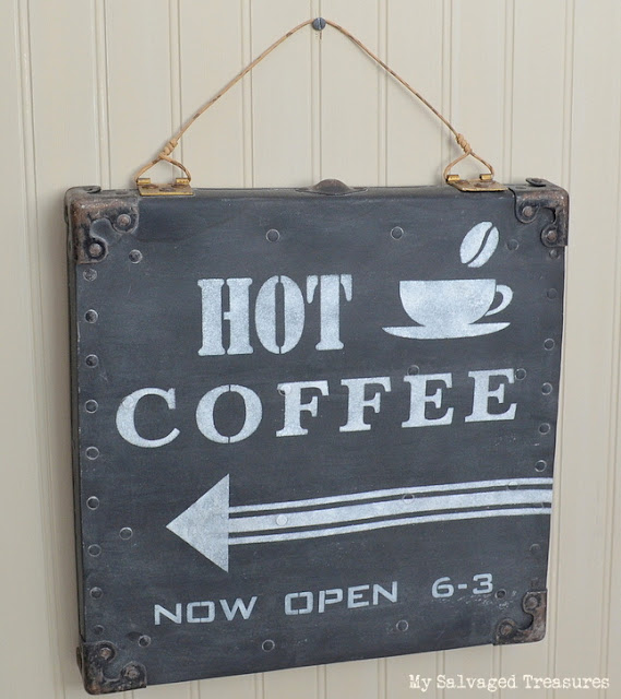Turn an old carrying case lid into a hot coffee sign