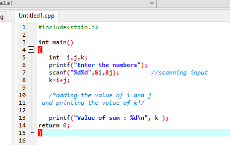 Single line comments example in c | C programming
