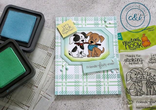 Two Puppy Pals Cards by May Guest Designer Anika Mercier | Puppy Pals Stamp Set, Plaid Stencil Set by Newton's Nook Designs #newtonsnook #handmade