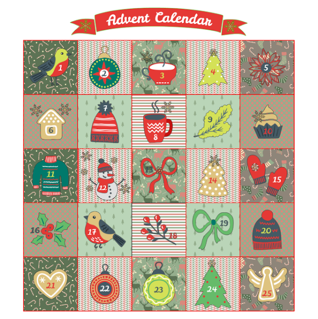advent calendar, snowman, xmas trees, robin, angel, mittens, babbles, holly, ribbons, eggnog, poinsettia, jumper, heart, pudding