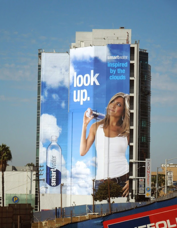 Giant Jennifer Aniston Look Up Smartwater billboard