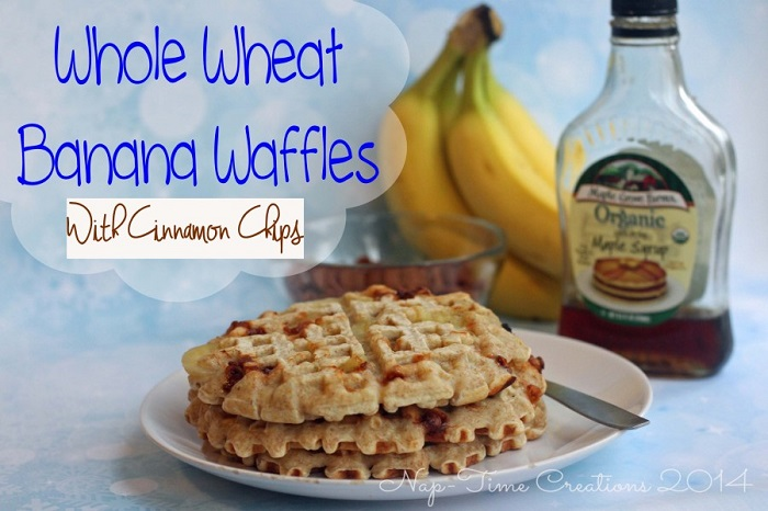 Whole Wheat Banana Waffles with Cinnamon Chips