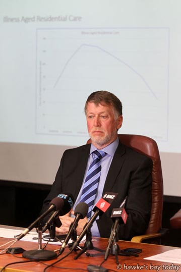Dr Kevin Snee, chief executive, Hawke's Bay District Health Board - press conference at HBDHB after a gastro outbreak in Havelock North, from a Hastings District Council water supply. photograph