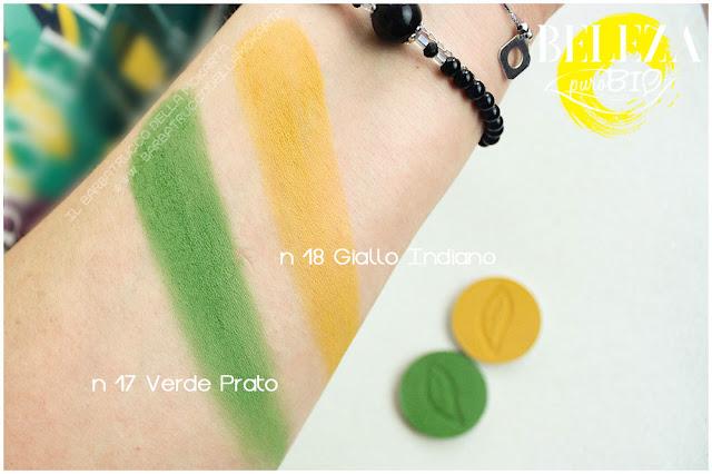 swatches beleza purobio eyeshadow ombretti 18 giallo indiano 17 verde prato