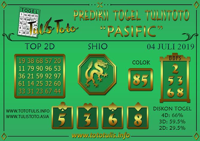 Prediksi Togel PASIFIC TULISTOTO 04 JULI 2019