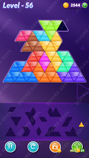 Block! Triangle Puzzle 12 Mania Level 56 Solution, Cheats, Walkthrough for Android, iPhone, iPad and iPod