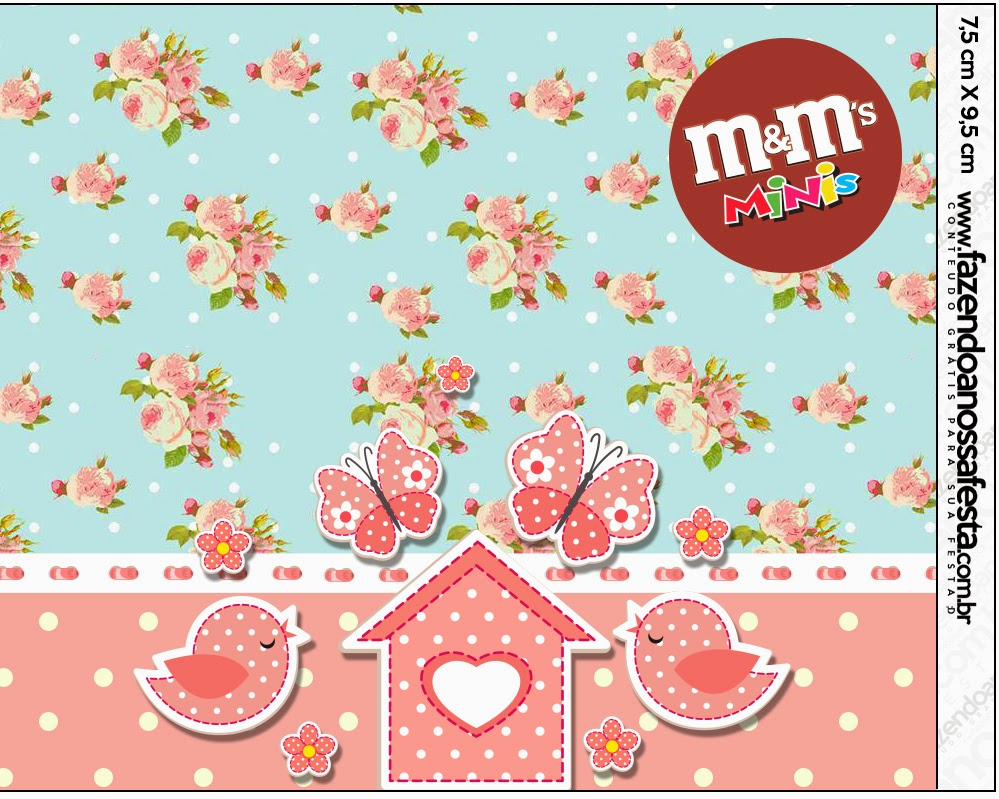 Birds and Butterflies Free Printable M&M Labels.