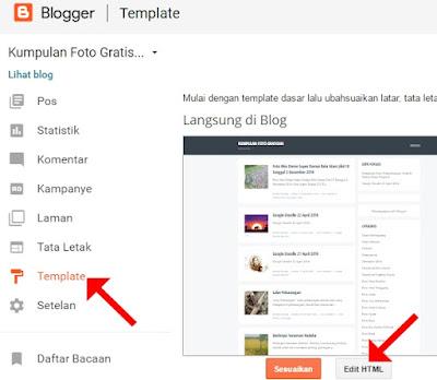 "Klik ""Template"" kemudian klik ""Edit HTML"""