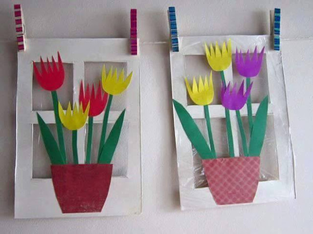 Idea to make something from paper for kids : flowers 1